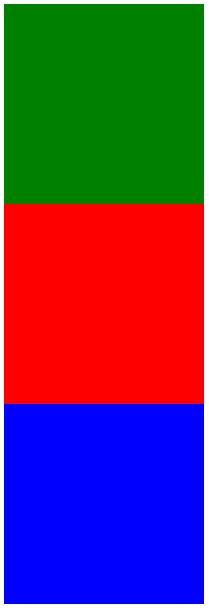 正方形が上から緑、赤、青の順に並んでいます。