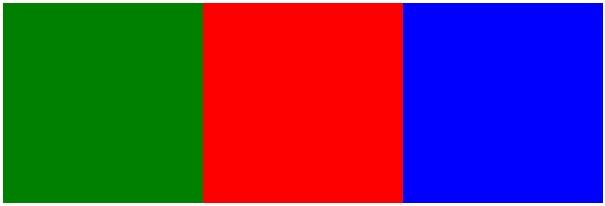 正方形が左から緑、赤、青の順に並んでいます。
