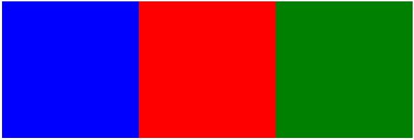 正方形が右から緑、赤、青の順に並んでいます。